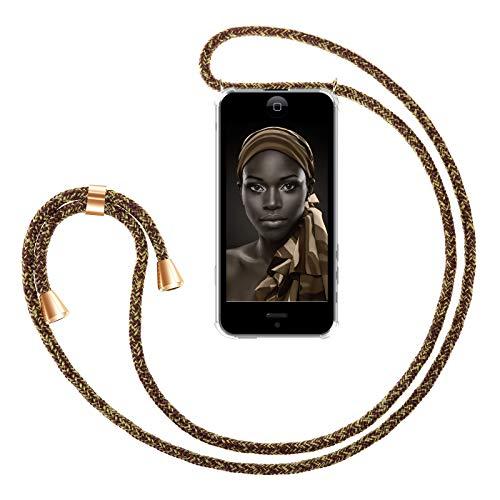ZhinkArts Handykette kompatibel mit Apple iPhone 5 / 5S / SE (2016) - Smartphone Necklace Hülle mit Band - Handyhülle Case mit Kette zum umhängen in Gold - Braun