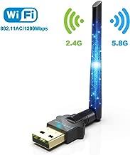 WiFi Adapter USB Wireless Adapter AC1300M Dual Band WiFi Dongle 2.4G/5G AC External Antenna Network Card for Desktop,Laptop, Windows XP,Windows Vista,win7,Win8.1,Win10,Mac OS X 10.6-10.14