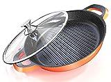 Sartén 3 en 1 Tapa de vidrio segura para el horno - Sartén de inducción de 32 cm/ 12.50″ de diámetro - Aluminio - Recubrimiento cerámico antiadherente alemán Greblon (Orange, 32 cm)
