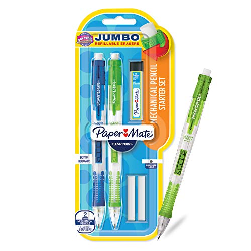 Paper Mate Clearpoint Mechanical Pencils with Refills, 0.9mm, HB #2, 2 Pack