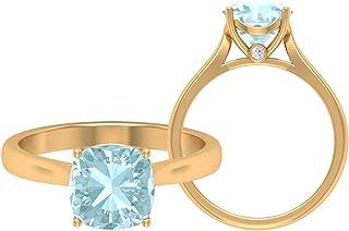 Anello solitario con topazio blu cielo 2,13 ct, anello in oro moissanite D-VSSI, anello di fidanzamento cattedrale, anello...