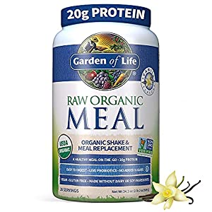 Garden of Life Meal Replacement Vanilla Powder, 28 Servings, Organic Raw Plant Based Protein Powder, Vegan, Gluten-Free *Packaging May Vary* from Garden Of Life
