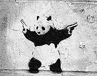 Potooart バンクシー 落書きアート ポスター キャンバス絵画 モダン 現代アート 印刷絵画 壁掛け絵画 装飾画 インテリアアート 玄関 部屋飾り 新築飾り (パンダ, 60cm*75cm)