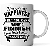 Tazas - El mejor regalo divertido de San Valentín para la esposa del esposo es una taza de café blanca finlandesa de 11 oz No puedes comprar la felicidad pero puedes casarte con un finlandés