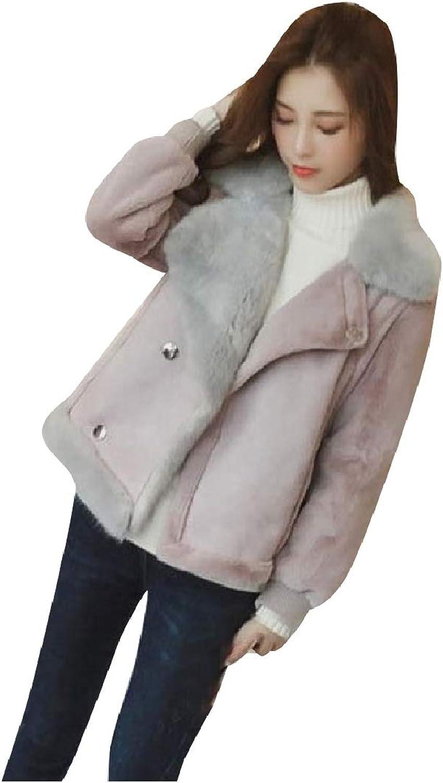 Doanpa Women's Short Fashional Thick Warm Faux Fur Hood Bomber Jackets