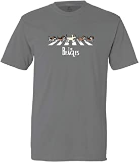 The Beagles - Classic Tee Shirt Short Sleeve Doggy Parody of The Beetles Shirt Gray X-Large