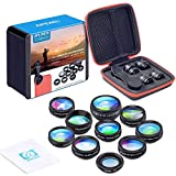 Apexel 10 in 1 Phone Camera lens kit Wide Angle lens + Macro