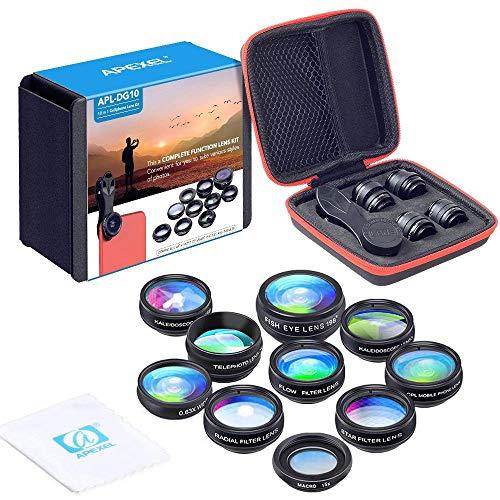 APEXEL 10 in 1 Phone Kamera Objektiv Set Weitwinkelobjektiv + Makro Objektiv + Fisheye Objektiv + Teleobjektiv + Kaleidoskop 3/6 Objektiv + CPL/Flow/Star/Radial Filter Clip-on Meiste Smartphone