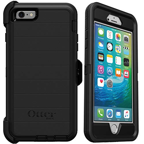 OtterBox Defender Series Rugged Case & Holster for iPhone 6s Plus & iPhone 6 Plus – Non-Retail Packaging – Black – with Microbial Defense