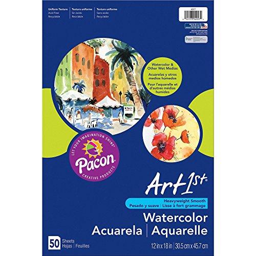 Pacon 4927 Watercolor Paper, 90lb, 12-Inch x18-Inch, 50SH/PK, White