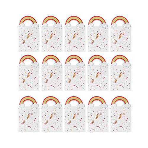 TOYMYTOY 24pcs Papier Partytüten Geschenktüten mit Griff Einhorn Party Geschenk zubehör, 10 x 8 x 3cm