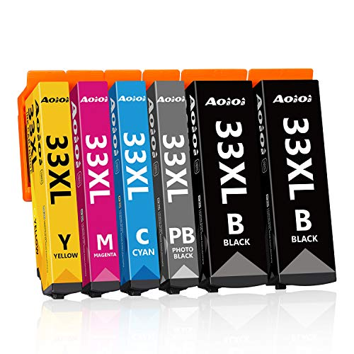 AOIOI 33XL - Cartuchos de tinta de repuesto para Epson 33 33XL (6 unidades)