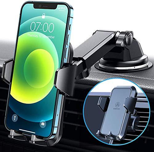 VANMASS Handyhalterung Auto 3 in 1 Lüftung & Saugnapf Stabil 100{3f62984718878e9082ef6d014bbada069124b73209706f1d1d98b7c0262814e0} Silikonschutz Handyhalter Fürs Auto Universale Kfz Handyhalterung 360°Drehbar Autohalterung Für Alle Handy iPhone Samsung Huawei LG