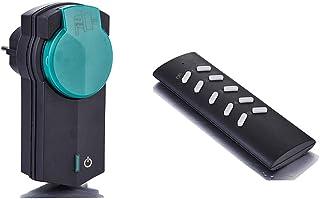 ZEYUN enchufe con mando a distancia(1 + 1) para uso en exteriores, hasta 3680 W, 1x enchufes inalámbricos para interruptor...