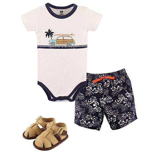 Hudson Baby Unisex Baby Cotton Bodysuit, Shorts and Shoe Set, Surf Car, 3-6 Months