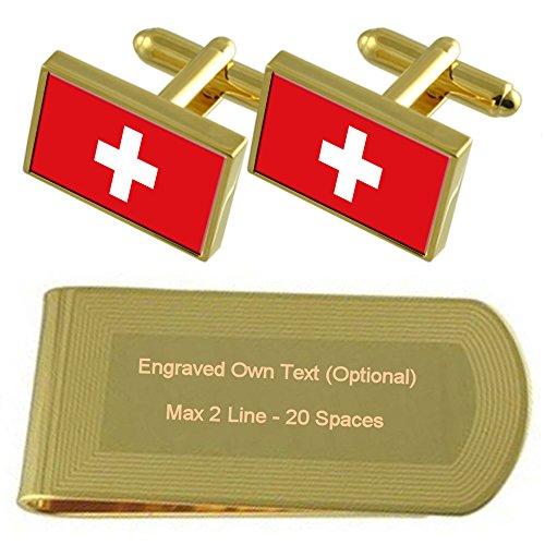 Select Gifts Schweiz Flagge Gold-Manschettenknöpfe Geldscheinklammer Gravur Geschenkset