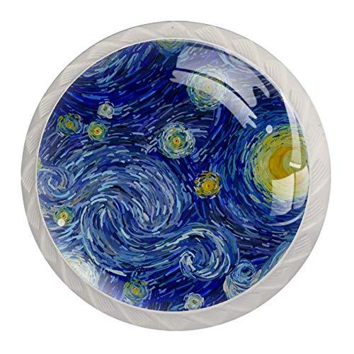 EZIOLY Abstrakte Sternen-Nacht-Küchenknöpfe für Küchenschränke, Schränke, Schubladen, Kommoden, 4 Stück (weißer Griff)