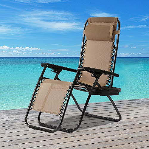 Patio Lounge Recliners Zero Gravity Chair Folding Lawn Lounge Chair Outdoor Gravity Reclining Chairs Metal Frame Patio Chairs with Pillow and Cup Holder (Tan)