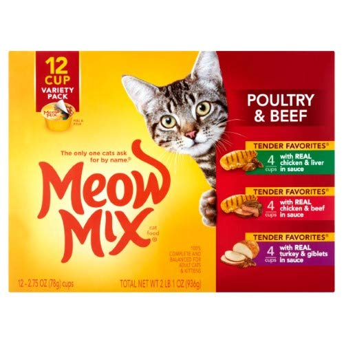 Meow Mix Beef & Poultry Wet Cat Food Variety Pack (Pack of 18)