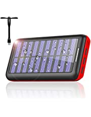 モバイルバッテリー 24000mAh ソーラーチャージャー 大容量 ソーラー充電器 急速充電 USB扇風機一本付属2USB入力ポート(2.1A+2.1A) 3USB出力ポート(2.4A+2.4A+2.4A) Android/Apple/iPad等に対応 災害/旅行/アウトドアに大活躍