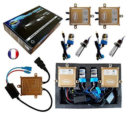 VEGA Kit HID Xénon Marque Francaise H3 6000K 55W Slim DSP AC Ampoules à embase métallique