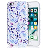 iPhone 6s Case Blue Floral, iPhone 6 Case, DAKMEEA Best Protective Cute Women Girls Clear Slim Shockproof Glossy Soft Silicone Rubber TPU Cover Phone Case for iPhone 6 / iPhone 6s, Flower Design
