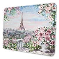 マウスパッド ゲーミング オフィス最適 パリ市のピンクの油絵 防水/疲労軽減/水洗い 滑り止め 耐久性が良い/高級感 おしゃれ