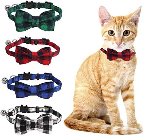 FANDE Collarino per Gatto, 4 Pezzi Collare per Gatto con Campana e Papillon Campana Collare Regolabile per Animali Domestici Regolabile Collari a Sgancio Rapido per Gattino Gatti Domestici e Cuccioli