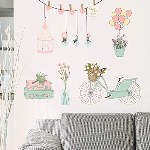 MMLFY Muursticker Verse bloem float ballon muur sticker boeket fiets stam vogel kooi potje kast slaapkamer kast TV muur decoratieve sticker