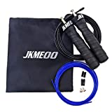 JKMEOO Speed Jump Rope, Professional Rapid Ball Bearings Rope Skipping with Adjustable Cable for Cardio Workout, Fitness Training & Skipping Exercise with Free Carry Case & Spare Screw kit (Black)