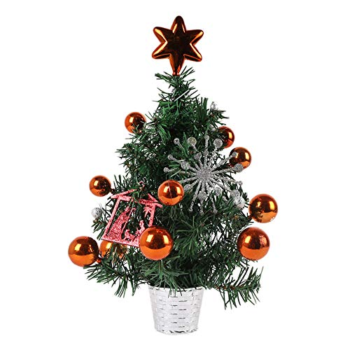 Gaoominy 2 Pcs 35cmPVC Potted Tree Christmas Ornaments Decoration Shopping Mall Counter Desktop Small Potted Tree (Orange)