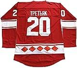 Vladislav Tretiak #20 CCCP 1980 USSR CCCP Russian Hockey Jersey Red (Red, Large)