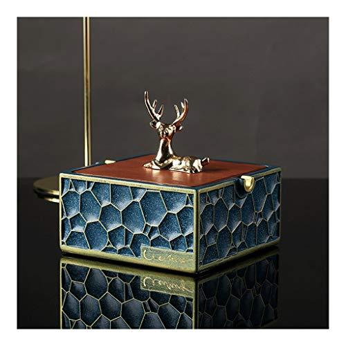Cenicero Cenicero con tapa, Cm 4.3 * 4.6 * 5 En, Cuerpo de resina, de la cubierta de bambú-+ metal Home Living Decoración de la sala, la bandeja de ceniza 11 * 11,8 * 12,8 cigarrillos Cenicero interio