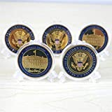 5 PACK: 5x President Trump gold plated coins. Made of zinc alloy with enamel. Measures 1.5 inches diameter 35mm thick. Each coin comes encapsulated in a clear protective case to avoid oxidation. Perfect for gift giving, and fun to have.