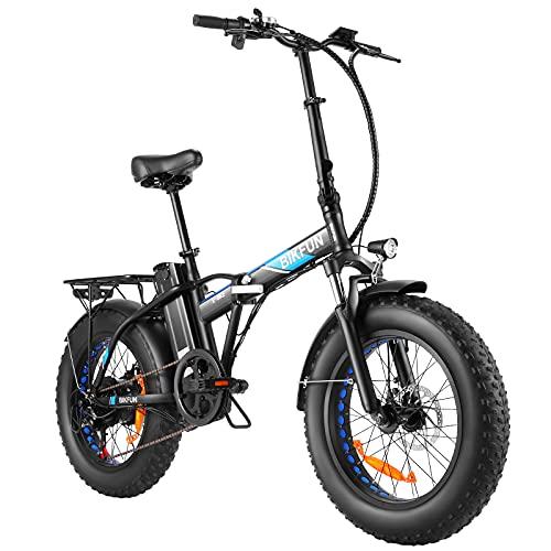 BIKFUN E-Bike 20 x 4,0 Zoll Fette Reifen | Faltbarer Aluminiumrahmen | 350W Elektrofahrrad mit 600Wh Abnehmbarer Akku bis 80KM | Elektro-MTB mit 7-Gang-Schaltung für Berg, Strand, Stadt, Schneefeld