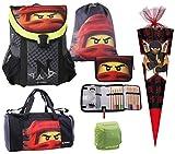 Familando Easy Schulranzen-Set mit Lego Ninjago Motiv Team Ninja 6 TLG. mit Federmappe, Sporttasche,...