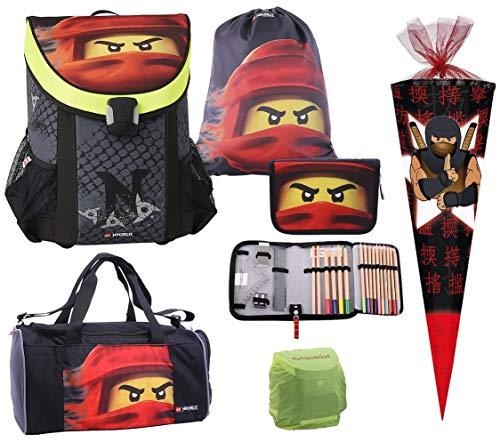 Familando Easy Schulranzen-Set mit Lego Ninjago Motiv Team Ninja 6 TLG. mit Federmappe, Sporttasche, Regenschutz Spinjitzu Ninja Kai und Ninja Schultüte 85cm rot