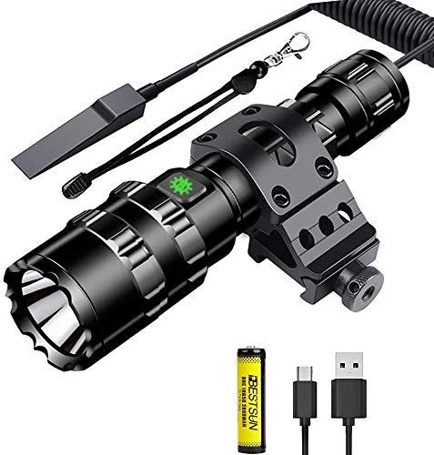 Linterna LED recargable, linterna táctica súper brillante de 1500 lúmenes 5 modos de linterna LED con montaje compensado Picatinny interruptor de presión, cable USB Batería recargable incluida