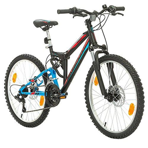 Bikesport Parallax 24' Bicicletta Biammortizzata Doppia Sospensione (Nero Blu)