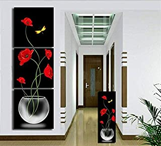 Prints on Canvas FYSKJDG 3 Pieces Red Flower Yellow Butterfly Vases Decoratives Oil Painting On Canvas 3 Piece Wall Art Se...