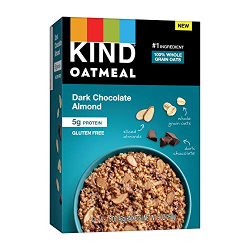 KIND Oatmeal, Dark Chocolate Almond, Gluten Free, Low Sugar, Individual Packets, 30 Count