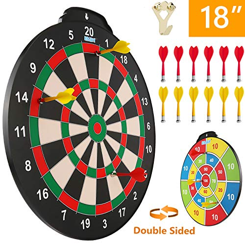 Esjay Magnetic Dart Board Set, 18 inch Safe Dart Game for Kids, Best Boy Toys Gift Indoor Outdoor Game with 12 Darts, Double Sided Large Size Dartboard