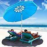 MOVTOTOP Beach Umbrella UV 50+, 6.5ft Umbrella with Sand Anchor & Tilt Aluminum Pole, Portable Beach Umbrella with Carry Bag for Beach Patio Garden Outdoor