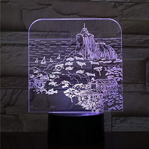 Regalo de luz visual Lmpara de mesa pequea 3D Lmpara de mesa 3D Decoracin de fiesta LED Paisaje de navegacin en el lago USB Noche de sueo del beb Luz sorpresa antes de Navidad