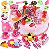 GeyiieTOYS Spielzeug Kuchen, Kleine Küchenmeister Geburtstagstorte Zubehör für Kinderküchen, Kuchenstücke mit Klett für Spielküche und Kaufmannsladen, ab 3 Jahren