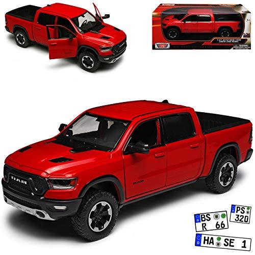 Motormax Dodge Ram 1500 Pick-Up Doppelkabine Rot 5. Generation Ab 2019 1/24 Modell Auto mit individiuellem Wunschkennzeichen