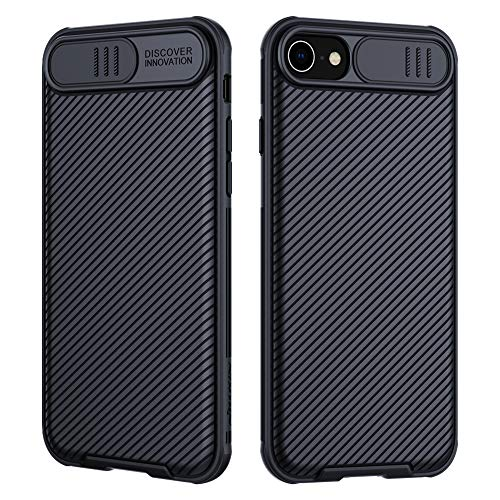 Nillkin - Funda para iPhone SE 2020, CamShield PRO Series [protección para cámara] Bumper protector ultra fino y ligero, funda antiarañazos Hard PC Case Back Cover para iPhone SE 2020 (negro)