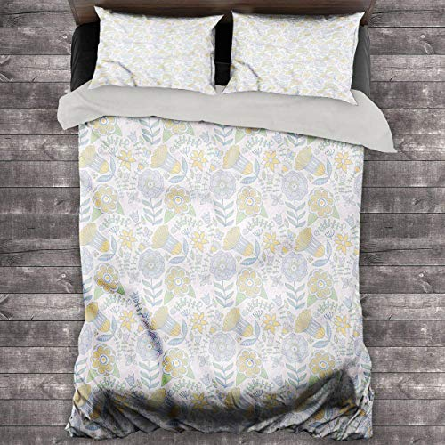 LanQiao Garden Art Pillow Duvet Cover Doodle Nature Scroll. 68'x86' inch Quilt Cover and Pillowcase