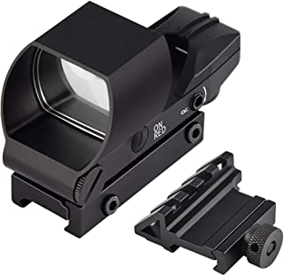 Feyachi Reflex Sight Red & Green Dot Gun Sight Scope 4 Reticles with 45 Degree Rail Mount, Upgraded On/Off Switch