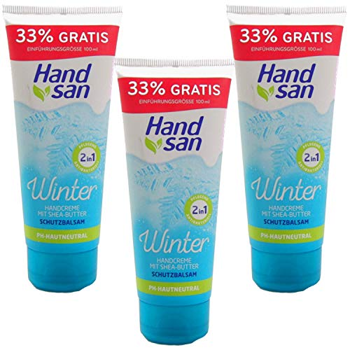 3x 100ml Handsan Winter Handcreme 2in1 24h Feuchtigkeit mit Shea & Cocoa Butter PH Neutral